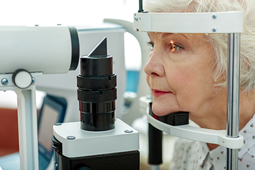 Woman getting a Senior Eye Exam.